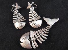 Vintage Antonio Pineda 970 Silver Fish Skeleton Set Earrings and Brooch via Etsy
