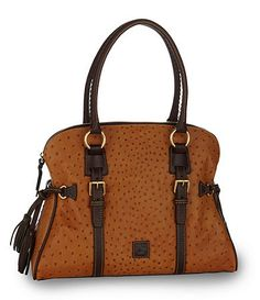 Available at Dillards.com  DB Ostrich domed buckle satchel $398
