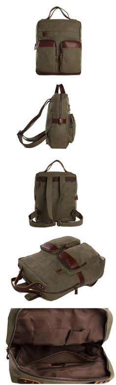 Canvas Leather Backpack, Waxed Canvas Casual Backpack School Backpack