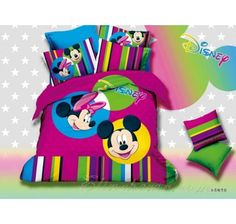 Purple Striped Mickey And Minnie Mouse Queen Size Bedding