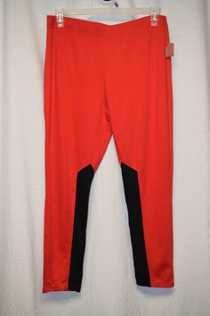Womens Pants Size 15 17 Juniors By No Boundaries Red Elastic Waist Black Ribbed #NoBoundaries #ElasticWaist