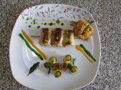 Farciture !!! Petits  paquet de porc et champignon chapelure avec carottes et courgettes, sauce de carottes et de roquette Gino D'Aquino
