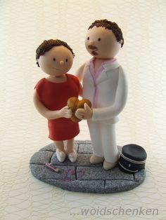 Tortenfigur Brautpaar mit Herz