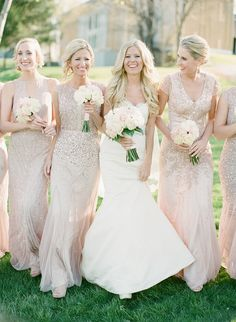 Sparkly mix and match bridesmaid dresses: Photography: Elena Wolfe - elenawolfe.com   Read More on SMP: http://www.stylemepretty.com/2016/07/18//