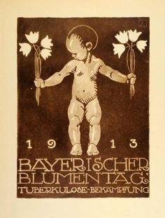 """""""Bayerischer Blumentag, 1913"""" This is an original 1926 photogravure of an advertising poster by Ludwig Hohlwein for Bavarian Flower Day, 1913. (Please note that"""