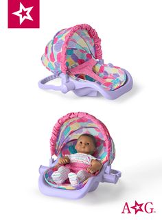 This American Girl doll-sized travel car seat has a bright fabric interior with a lap strap to keep Bitty Baby secure in the car. Baby Doll Set, Baby Doll Toys, Cute Baby Dolls, Baby Alive Doll Clothes, Baby Alive Dolls, Girl Doll Clothes, All American Girl Dolls, Galaxy Cake, Baby Doll Accessories