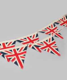 This patterned bunting adds an element of English-designed fun to household decor. The proud British print, durable triangular flags and easy-to-hang style round out this charming decoration. Powell Craft, Jack Flag, London Calling, Union Jack, Bunting, Tea Party, Kids Outfits, Invitations, Crafty