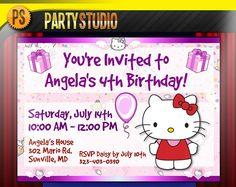 Cute custom birthday invitations for kids!!!  Hello Kitty Birthday Party Invites (4x6 or 5x7 Printable Invitations)