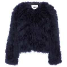 MSGM Cropped Fur Jacket (6962180 PYG) ❤ liked on Polyvore featuring outerwear, jackets, navy, blue jackets, fur jacket, loose jacket, navy jacket and blue cropped jacket