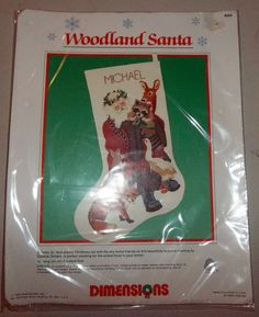 Woodland Santa Stocking Crewel Kit Dimensions 1989 St. Nick Christmas Made USA #Dimensions #Stocking