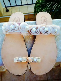Real leather sandals with ivory flowers and pearls!