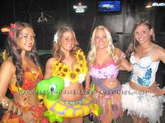 DIY Four Seasons Girls Group Halloween Costume (Love the summer's outfit with the innertube!) Not so much skin but this could be fun for the Holly's staff Halloween costume (Cool Costumes For Groups) Girl Group Halloween Costumes, Cute Costumes, Group Costumes, Halloween Outfits, Holidays Halloween, Halloween Diy, Happy Halloween, Costume Ideas, Costume Contest