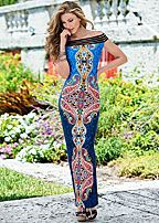 mesh detailed maxi dress