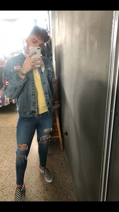#men #style #fashion #menfashion #outfits #denimjacket #yellow #vans #distressed #menswear #jeans #gay #boy #ootd #iphone8plus #white