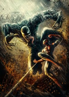 "comics-station: "" Venom vs Spiderman Fan art by Patricio Clarey Follow The Best Comics Artwork Blog on Tumblr """