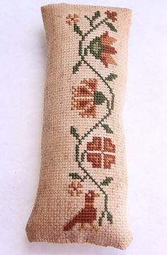 Cross Stitch Primitive Pinkeep with Flowers & Crow