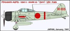 #13 - December 28, 1940 to April 10, 1941 VI-103 was flown by a wingman of carrier IJN Kaga, January 1941. INFO CREDIT: book FAOW #10, year 1974.