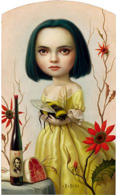 Bid now on Christina by Mark Ryden. View a wide Variety of artworks by Mark Ryden, now available for sale on artnet Auctions. Mark Ryden, Christina Ricci, Art And Illustration, Portrait Illustration, Arte Lowbrow, Bee Art, Bees Knees, Surreal Art, Fantasy Art