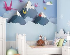 A favourite here at ohpopsi, turn your little one's room in to an incredible scenic masterpiece with this Origami Mountains wall mural. Temporary Wallpaper, Vinyl Wallpaper, Feature Wallpaper, Wallpaper Wallpapers, Self Adhesive Wallpaper, 3d Wall Murals, Childrens Wall Murals, Wall Art, Nursery Wall Murals