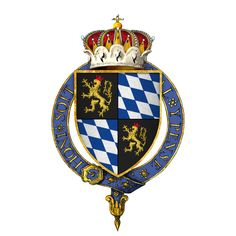 Coat of arms of Rupert, Prince Palatine of the Rhine, as a Knight of the Garter Paladin, Prince Of Orange, Medieval Shields, Order Of The Garter, Empire Romain, Pet Monkey, Banner, Family Crest, Royal Navy