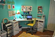 Turquoise and yellow craft room update | remodelaholic.com