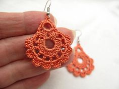 Hand Crocheted   Dangle  Earrings in Salmon by accessoriesbynez, $17.00