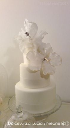 White ibiscus, wafer paper flowers wedding cake ~ all edible