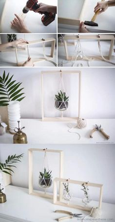 and beautiful DIY hanging decorations . - Simple and beautiful DIY hanging decorations -Simple and beautiful DIY hanging decorations . - Simple and beautiful DIY hanging decorations - Diy Hanging Planter, Diy Planters, Hanging Pots, Diy Casa, Diy Frame, Plant Decor, Diy And Crafts, Room Crafts, Teen Crafts