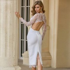 Sexy Lace Long Sleeve Backless Celebrity Club Party Vestidos Bandage Dress Color : White Style : Sexy & Club Material : Polyester,Spandex Occasion : Evening Party, Nightclub, Cocktail, Runway ✔ Free Worldwide shipping ✔ Easy Returns #fashion #style #dress #boutique #maxidress #wedding #party #evening #clubdress #celebrity White Bandage Dress, White Long Sleeve Dress, White Dress, Club Party Dresses, Party Dresses Online, Elegant Dresses, Sexy Dresses, Podium, Polyester Material