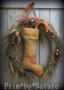 Primitive Shabby Burlap Christmas Stocking Wreath Candy Cane and Jingle Bells. Please visit me @ primbynature.com