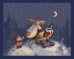 Просмотреть иллюстрацию Зимний чай))) из сообщества русскоязычных художников автора oliKA в стилях: Анимационный, нарисованная техниками: Растровая (цифровая) графика.