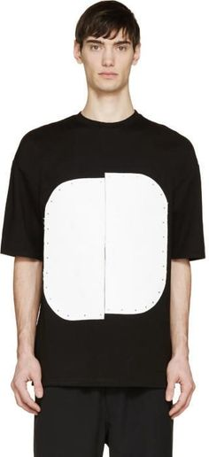 Cy Choi Black and White Vinyl Plaque T-Shirt