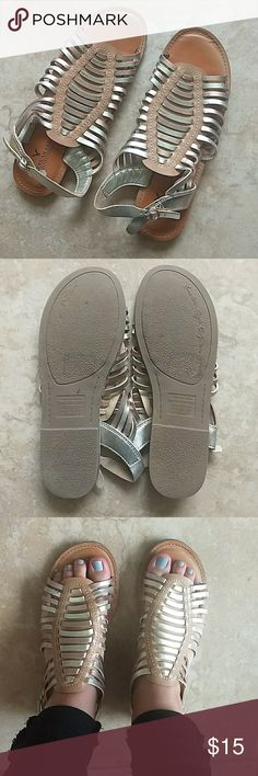 American Eagle Shoes Fun light brown leather sandles with gold and silver straps Worn once Great condition! American Eagle Outfitters Shoes Sandals