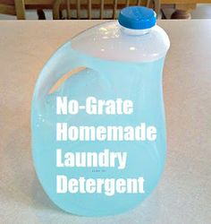 No-Grate Laundry Detergent: 3 Tablespoons Borax  3 Tablespoons Washing Soda  2 Tablespoons Dawn Dish soap    Put these ingredients in a one gallon jug. Pour 4 cups boiling water into the jug. Swirl until ingredients are dissolved in the liquid. Let liquid cool. Then fill almost to the top with cold water. The bubbles will overflow out of the bottle.