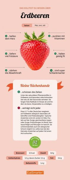 darum sind erdbeeren so gesund eatsmarter de erdbeeren infografik eatsmarter delivers online tools that help you to stay in control of your personal information and protect your online privacy. Healthy Life, Healthy Living, Paleo, Food Facts, Health Facts, Eating Plans, Superfood, Detox, Clean Eating
