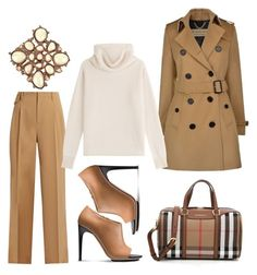 """""""Coated in Camel"""" by fashionforwarded ❤ liked on Polyvore featuring Burberry, Nili Lotan, Sonia Rykiel, Calvin Klein and Chanel"""