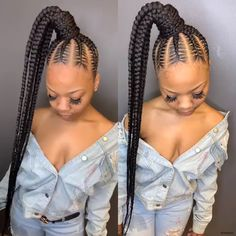 Top 60 All the Rage Looks with Long Box Braids - Hairstyles Trends Box Braids Hairstyles, Lemonade Braids Hairstyles, Braided Ponytail Hairstyles, Braided Hairstyles For Black Women, Braids For Black Hair, Protective Hairstyles, Summer Hairstyles, Protective Styles, Feed In Braids Ponytail