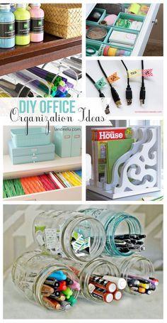 DIY Office Organization Ideas | Beautiful office ideas! My desk area it in my bedroom so yeah!