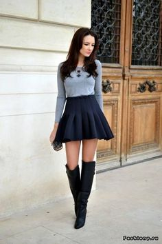 Boots and skirt...