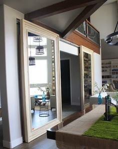 Mirror Door barn doors, good doorway for connecting rooms.