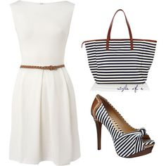 little white dress -love the stripe