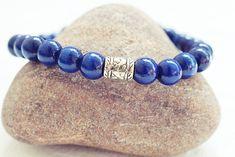 Dark Blue Beaded Bracelet | Wood Bead Bracelet | Mens Elastic Bracelet  Simple Mens Bracelet
