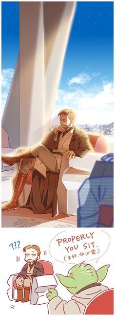 Obi-Wan's sitting way XD <<< it's the best way to sit. Obi-Wan is too fabulous to sit like other Jedi. Star Wars Fan Art, Star Wars Film, Star Wars Witze, Star Wars Jokes, Star Wars Comics, Star Wars Rebels, Obi Wan, Anakin Vader, Anakin Skywalker
