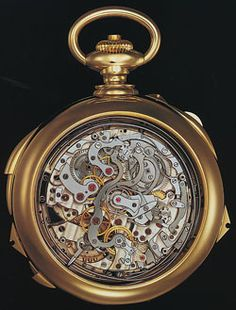 The Henry Graves super complication pocket watch, custom made by Patek Philippe in 1932. One of the most complicated watches ever made, this sold at auction in 1999 for 11 million.