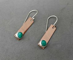 Copper Bar Turquoise Dangle Earrings by BloomingOak #etsygifts