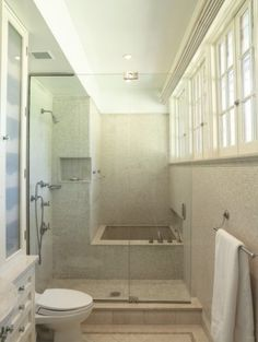 Tub shower combo - Definitely would need a different door, but how neat! And the windows! Great way to bring in natural light with style.