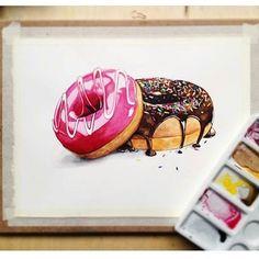 Donut Drawing By: Anya Berezkina _ Folgen Sie & Philip (pdw) . Cute Food Drawings, Realistic Drawings, Art Drawings Sketches, Art And Illustration, Food Illustrations, Donut Drawing, Cupcake Drawing, Food Art Painting, Chibi Kawaii