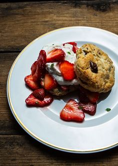 For this recipe cover, Erik Niel of Chattanooga's Easy Bistro adapts a classic strawberry shortcake. His has macerated strawberries with rosewater, fresh biscuits with chocolate chips, and homemade whipped cream.