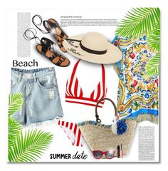 """""""Summer Date: The Beach"""" by bliznec-anna ❤ liked on Polyvore featuring Dolce&Gabbana, Chicnova Fashion, Rosetta Getty, Betsey Johnson, Alexander McQueen and Benefit"""