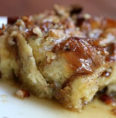 French toast casserole - we added a couple of smashed bananas and more spices, then we ate it with syrup and french vanilla creamer on top